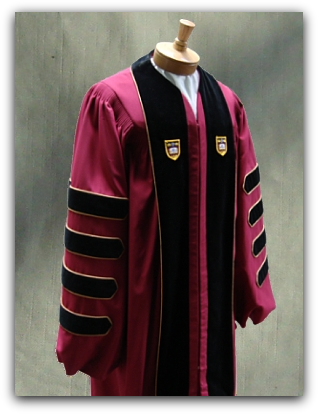 Custom designed presidential robe for Boston College designed by University Cap & Gown