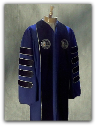 Custom designed presidential robe for Cape Cod Community College designed by University Cap & Gown