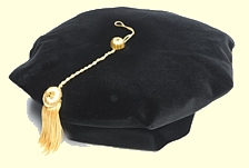 8 corner black velvet doctoral tam with gold metallic tassel
