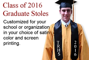 Class of 2016 graduation stoles from University Cap & Gown
