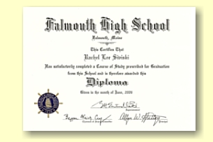 Falmouth High School diploma designed by University Cap & Gown