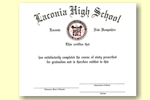 Laconia High School diploma by University Cap & Gown