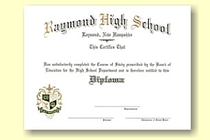 Raymond High School diploma custom designed by University Cap & Gown