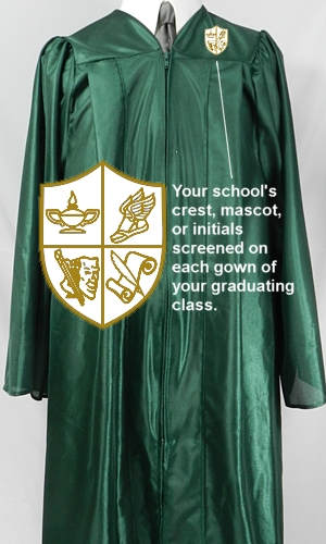 School crest graduation gowns from University Cap & Gown