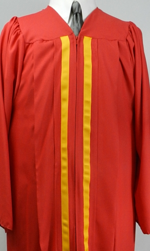 Red souivenir cap and gown with 2 gold stripes by University Cap & Gown
