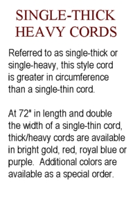 Single-Thick Heavy Honor Cords from University Cap & Gown